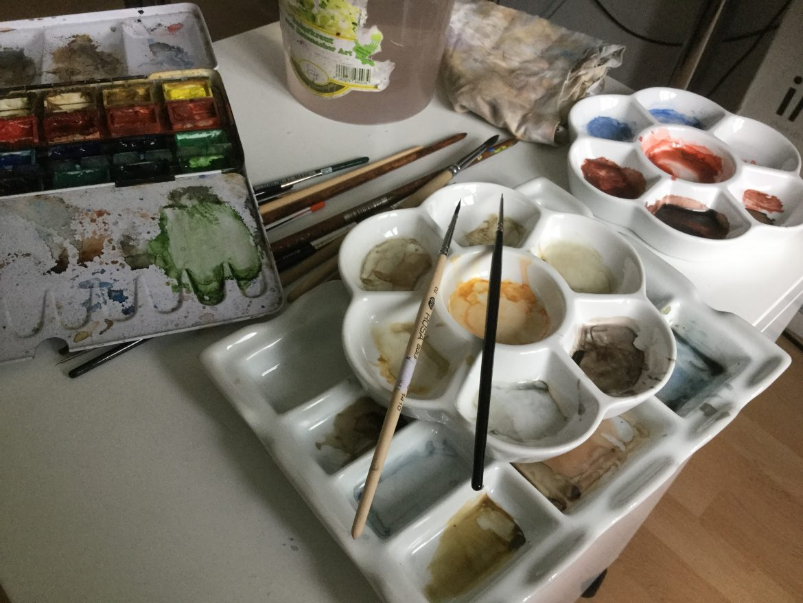 Watercolor painting in time lapse